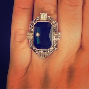 Deep Blue Faux Gemstone Ring